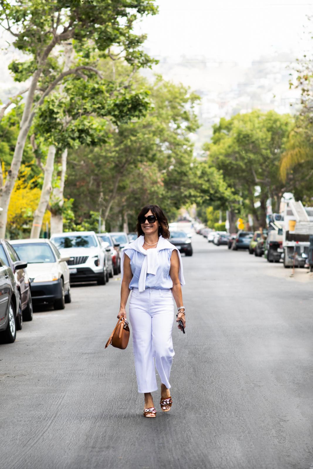 White denim, Blue blouse, Chloe handbag, brown sandals,