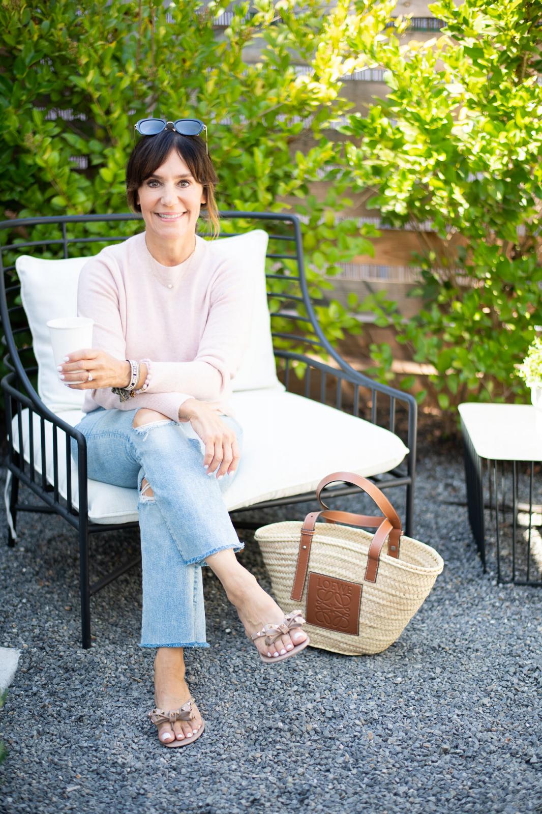 Mother denim, Cashmere sweater, Valentino sandals, loewe tote