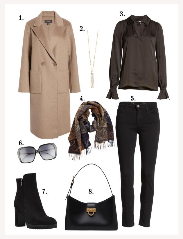 Brown Halogen wool coat, Paige blouse, black booties, AG black cigarette skinny