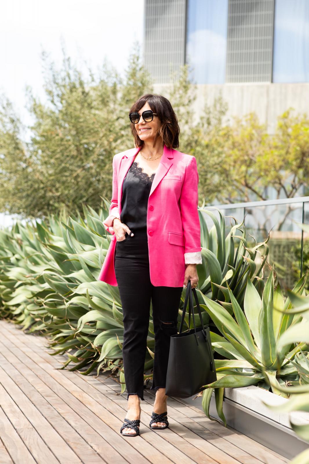 Pink Zara blazer, Black NYC cami, black levi jeans, black sandals, YSL tote