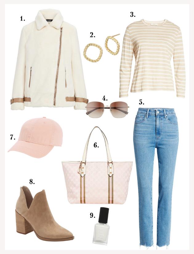 Ralph Lauren faux fur jacket, Stripe tee, Paige denim, Brown booties, pink accessories
