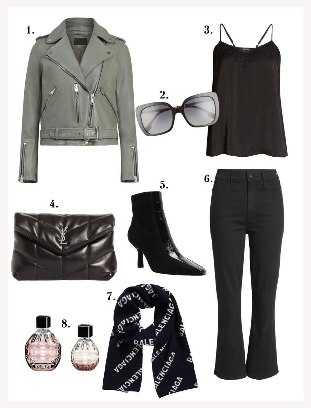 AllSaints, Leather jacket, Cami, Balenciaga scarf, YSL pouch, Mother denim