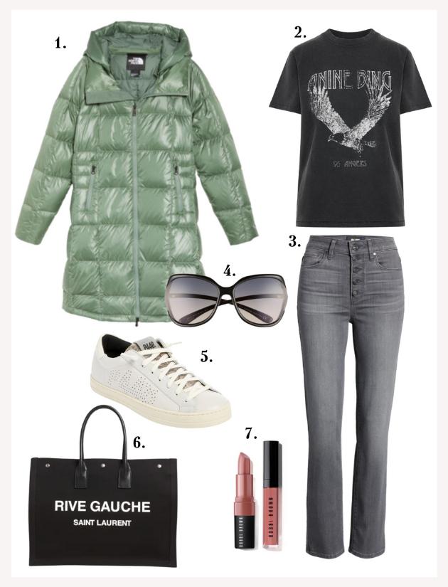 Acropolis water repellent 550 fill power down jacket, Anine Bing T shirt, P448 sneakers, bobbi brown lip gloss, YSL tote