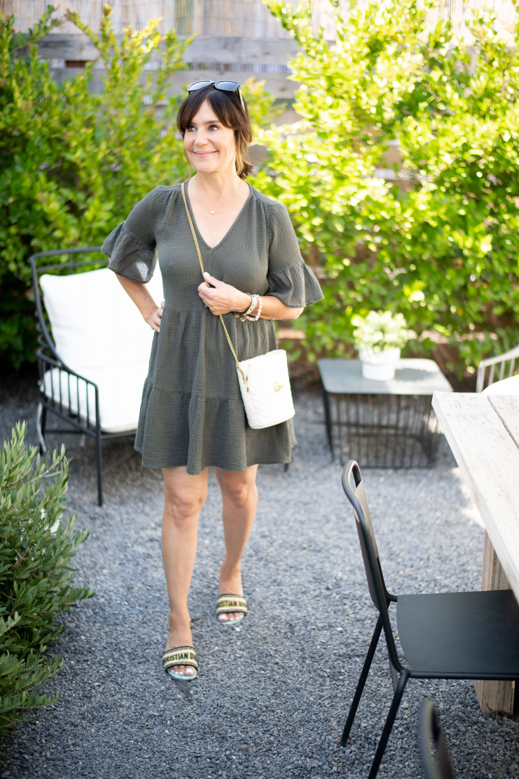 Velvet gauze dress, Dior slides, Gucci handbag