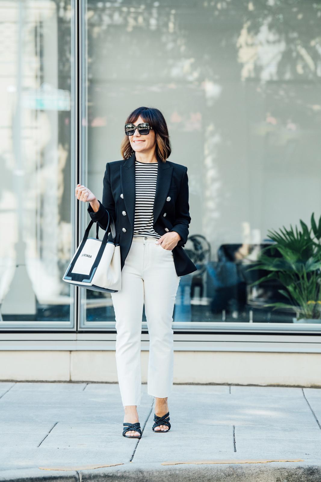 Veronica Beard Blazer, Striped T shirt, Paige ecru denim jeans, Sam Edelman Sandals, Balenciaga handbag, Gucci sunglasses