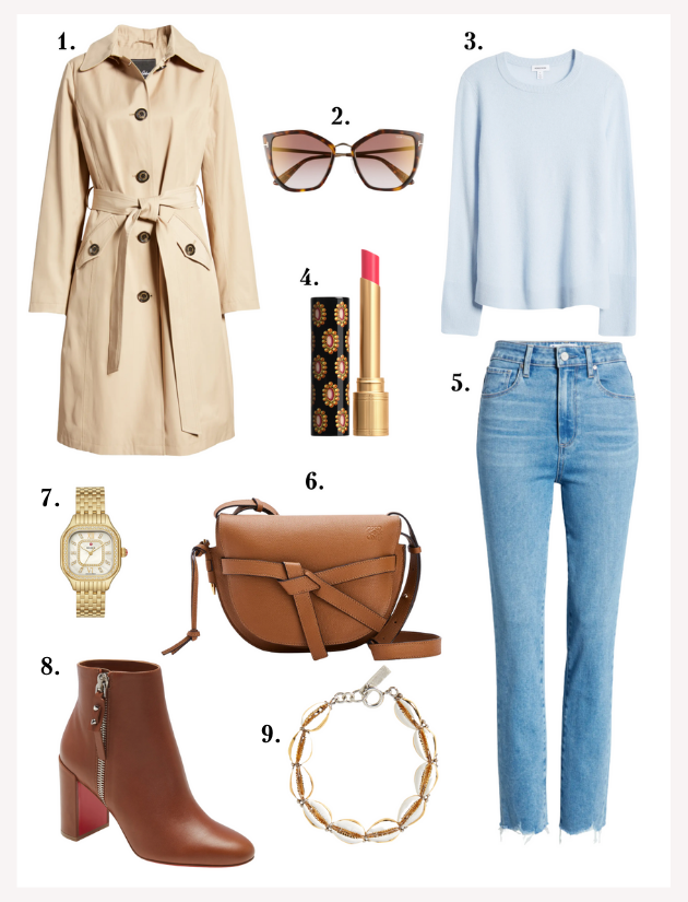 Trench Coat, Paige denim, blue sweater, brown accessories, gold watch, Gucci lipstick